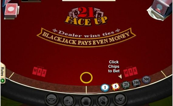 Strategy to play Face Up and Face Up 21 Blackjack