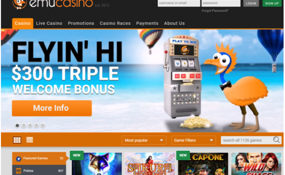 Bonus offers at Emu Casino